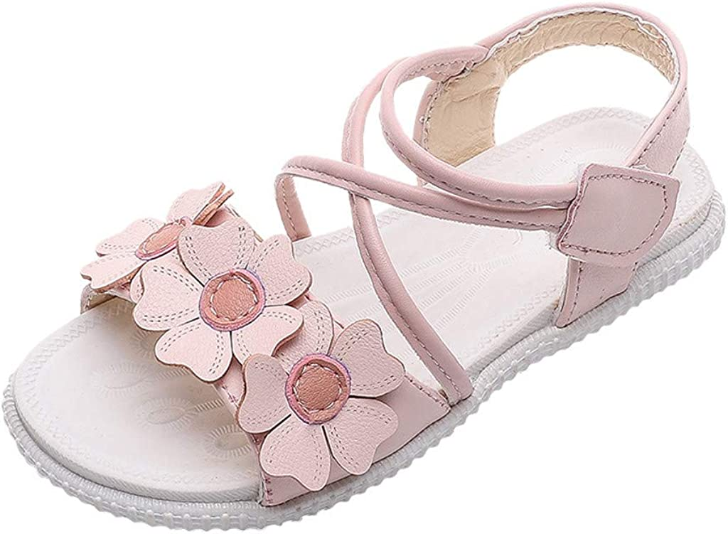 ❤️Rolayllove❤️ Toddler Girls Sandals Leather Soft Open Toe Princess Flat Shoes Comfortable Lazy Sandal