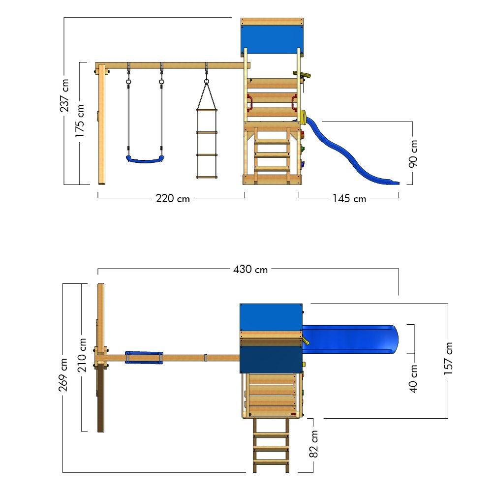Wickey TurboFlyer - Parque infantil, Torre de escalada con muro de escalada cajón de arena columpio y escalera de cuerda, tobogán + lona, ...