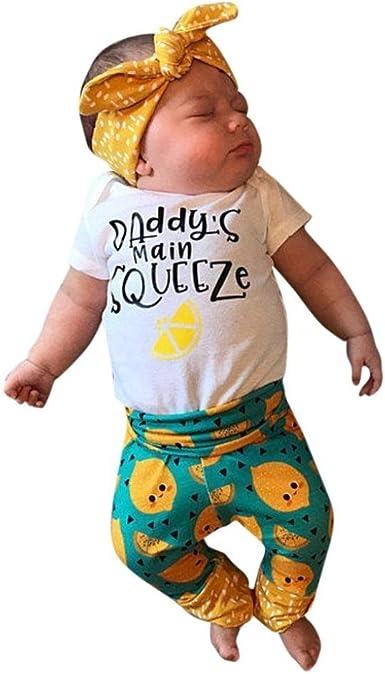 Pants Clothes Outfits Set 0-18M Infant Baby Boys Girls Romper Jumpsuit T-shirt