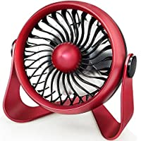 Momoday Mini Rechargeable Fan, Personal Desk Fan with 4 Speeds, Battery Operated Aroma Fan, Strong Airflow and Quieter Operation, Powered by USB or 2200mAh Rechargeable Battery (Red)