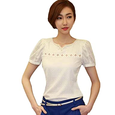 466c6dd621585c Women's Vintage Chiffon Blouses Lace Short Sleeve Shirt V Neck Doll Tops  (White, ...