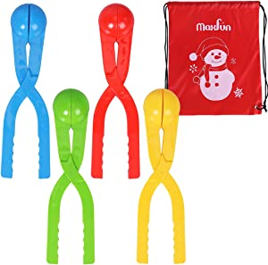 Max Fun 4 Pack Snowball Maker Snow Toy for Kids with Bonus Drawstring Bag for Winter