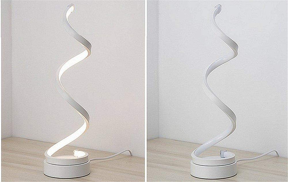 12W luz blanca c/álida ELINKUME espiral LED l/ámpara de mesa Creative acr/ílico LED modelado l/ámpara de cabecera blanco curvo LED l/ámpara de escritorio regulable dise/ño minimalista moderno