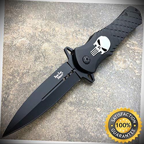 (DARK SIDE BLADES Skull Punisher BLACK Spring Assisted OPEN Pocket Knife - Outdoor For Camping Hunting)