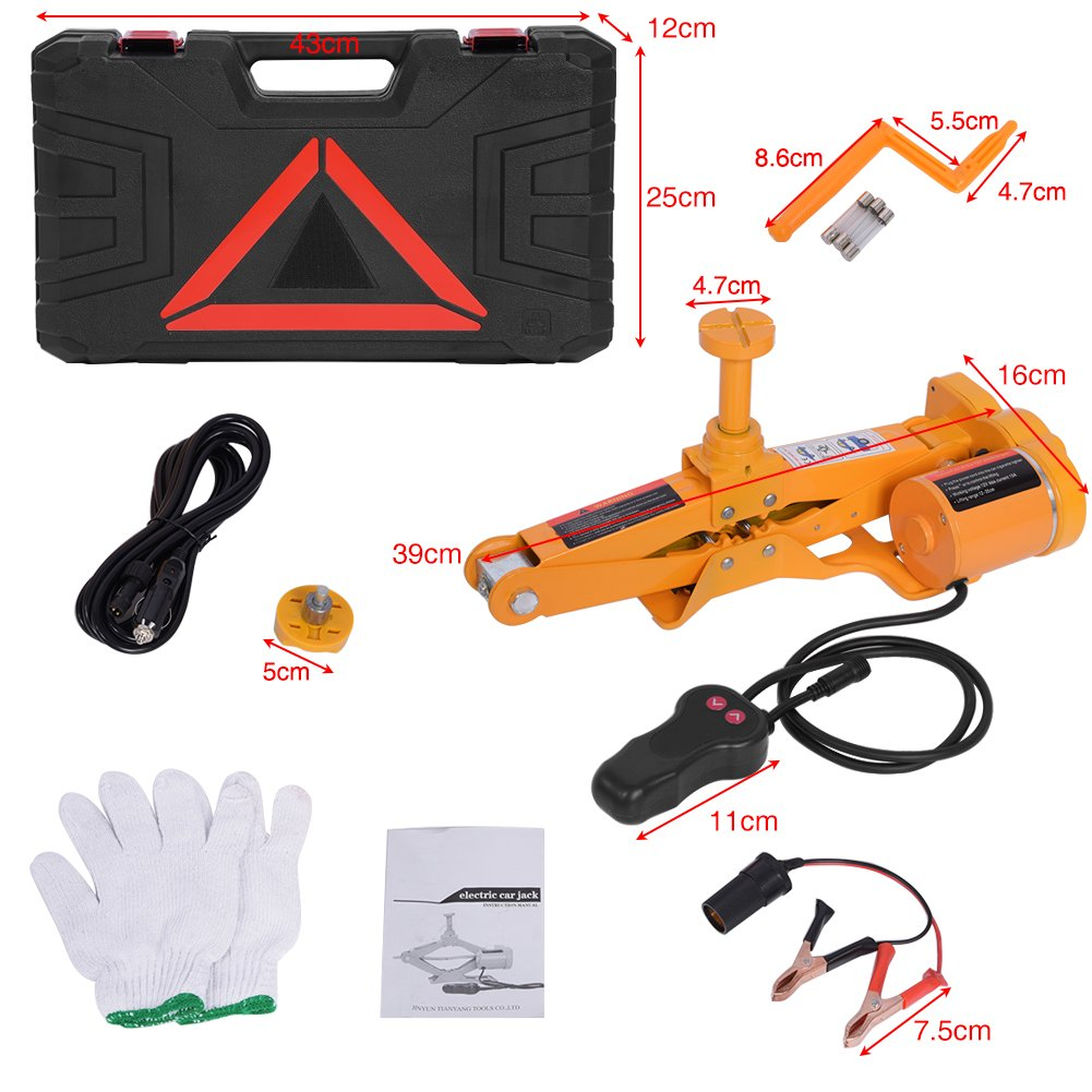 Automotive Car Electric Jack,3 Ton 12V DC Electric Scissor Car Jack Lifting Tire Wheel Repair Changing Kit SUV Van and Emergency Equipment by Estink (Image #4)
