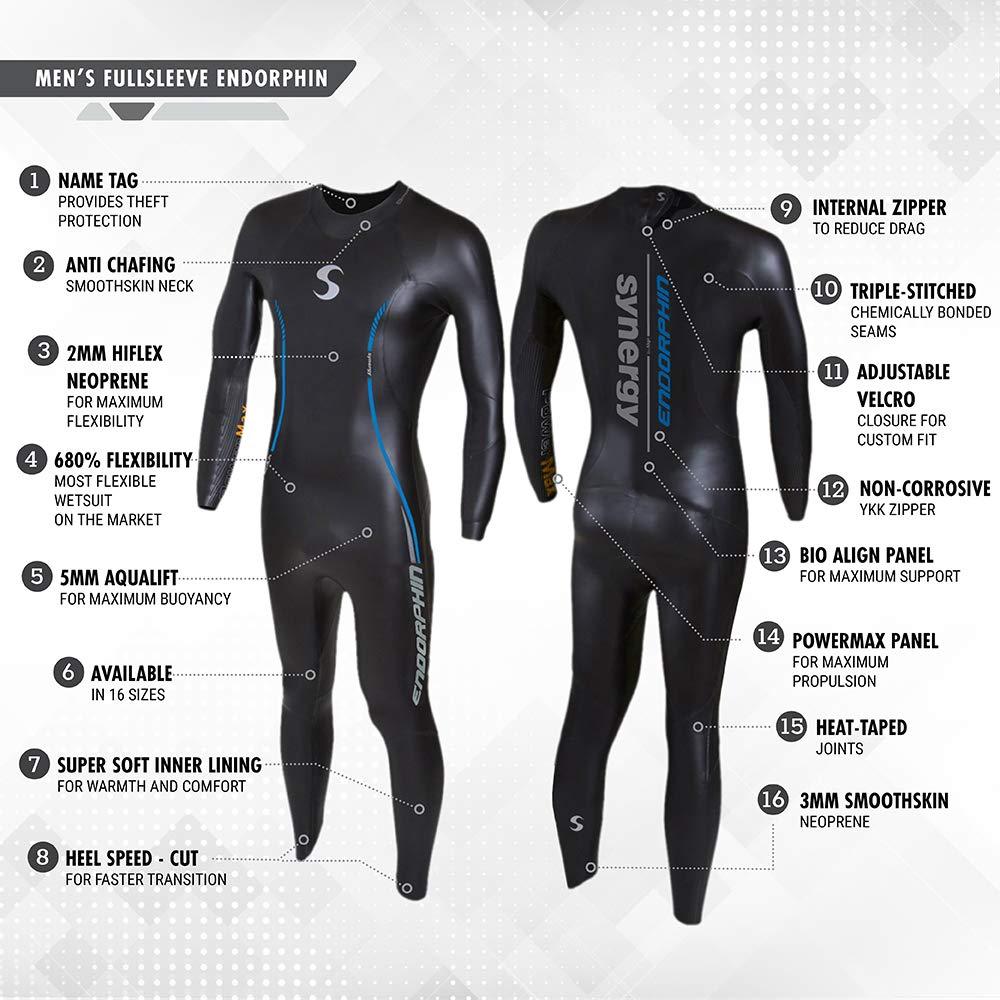 Synergy Endorphin Men's Full Sleeve Triathlon Wetsuit (M1) by Synergy (Image #3)