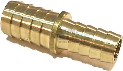EDGE INDUSTRIAL 5//16 X 1//4 Hose ID Brass Barb Reducer SPLICER Fitting Fuel Water WOG Qty 1 Gas AIR Oil