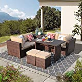 Patiorama 8 Piece Outdoor Patio Furniture Set, All Weather Wicker Patio Sectional Sofa Set with Storage Table, Dinning Set with Corner Loveseat Sofa Chair Ottoman Table, Beige