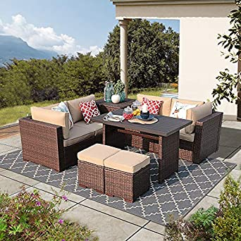 Incredible Patiorama 8 Piece Outdoor Patio Furniture Set All Weather Wicker Patio Sectional Sofa Set With Storage Table Dinning Set With Corner Loveseat Sofa Pdpeps Interior Chair Design Pdpepsorg