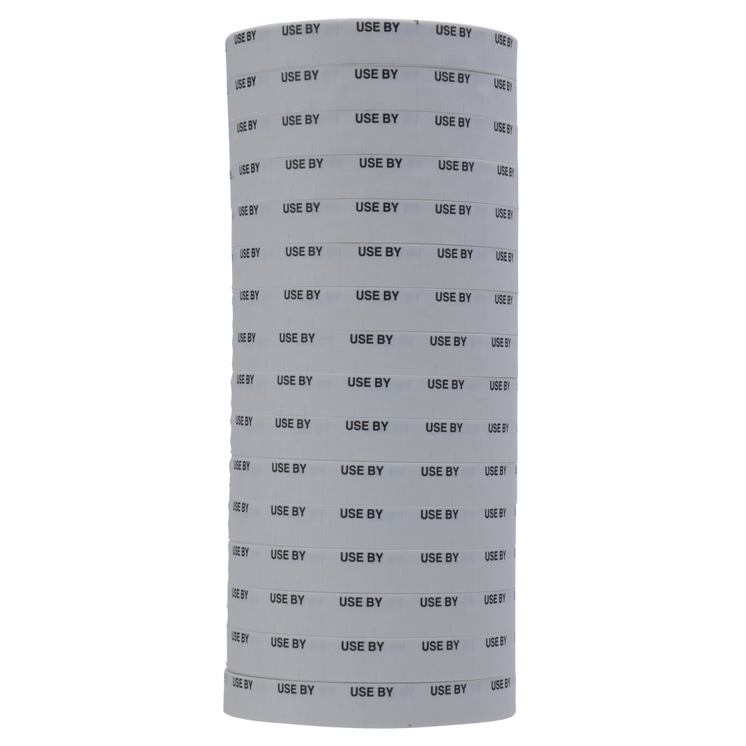 Black on White USE BY Labels to fit Monarch 1110 Pricing Guns. 16 Rolls with 1 Free Ink Roller.