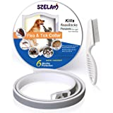Waterproof Flea & Tick Collar for Dogs Puppies Cats,6 Months Powerful Protection Safe Natural Ingredients for Pets,Against Pests,Insects,Larvae,Eggs with Tick Remover Comb