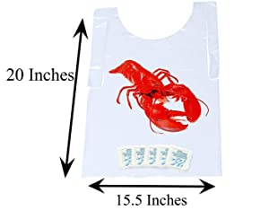Lobster Bib & Wet Wipe Bundle- 25 Disposable Bibs and 25 Moist Towelettes for Crawfish Boil, Seafood Fest, or Home Dinner Party by AMSCO Disposables