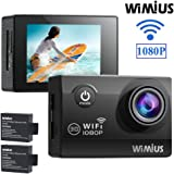 Action Camera, WiMiUS 1080p Helmet Cam WiFi Waterproof Camcorder 12MP Full HD 2.0'' LCD 170° wide-angle Sports Action Cam with 2 Batteries and Accessories, Motorbike Head Camera Skiing Cam Dash Cam (Q2)