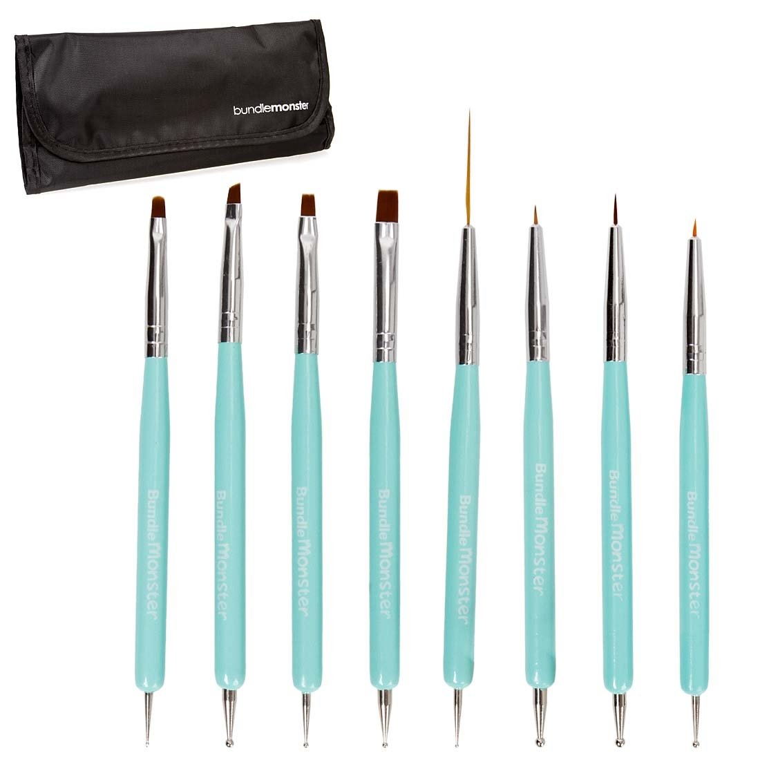 Amazon.com : BMC Super Cute Turquoise 8pc Dual Sided Nail Art Brush ...