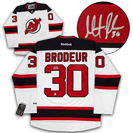 6e5a1fcb5ee Image Unavailable. Image not available for. Color  Martin Brodeur New  Jersey Devils Autographed Autograph White Reebok Premier Hockey ...