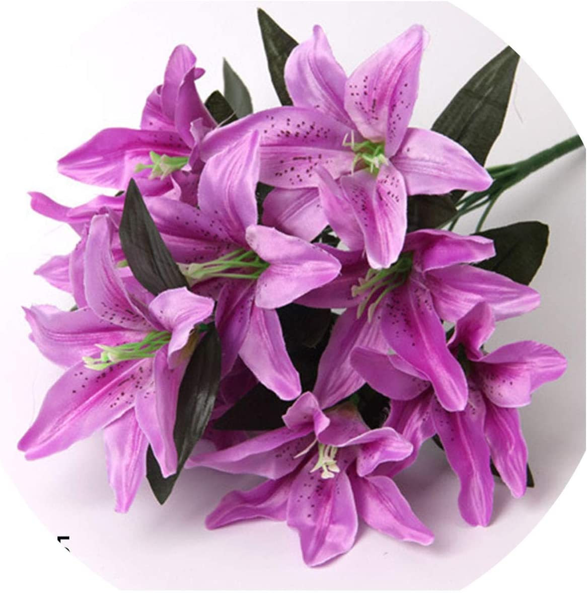 Amazon Com Fortune God Artificial Lily Flower Real Touch Leaves Wedding Decoration Fake Flowers Bouquet Office Party Home Decor L05 Kitchen Dining