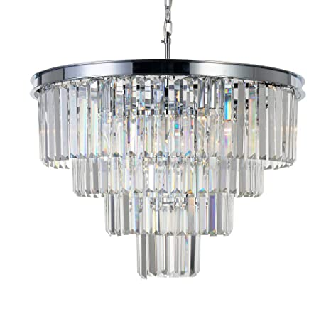 MEELIGHTING Chrome Crystal Modern Contemporary Chandeliers Pendant Ceiling  Light 4 Tier Chandelier Lighting For Dining