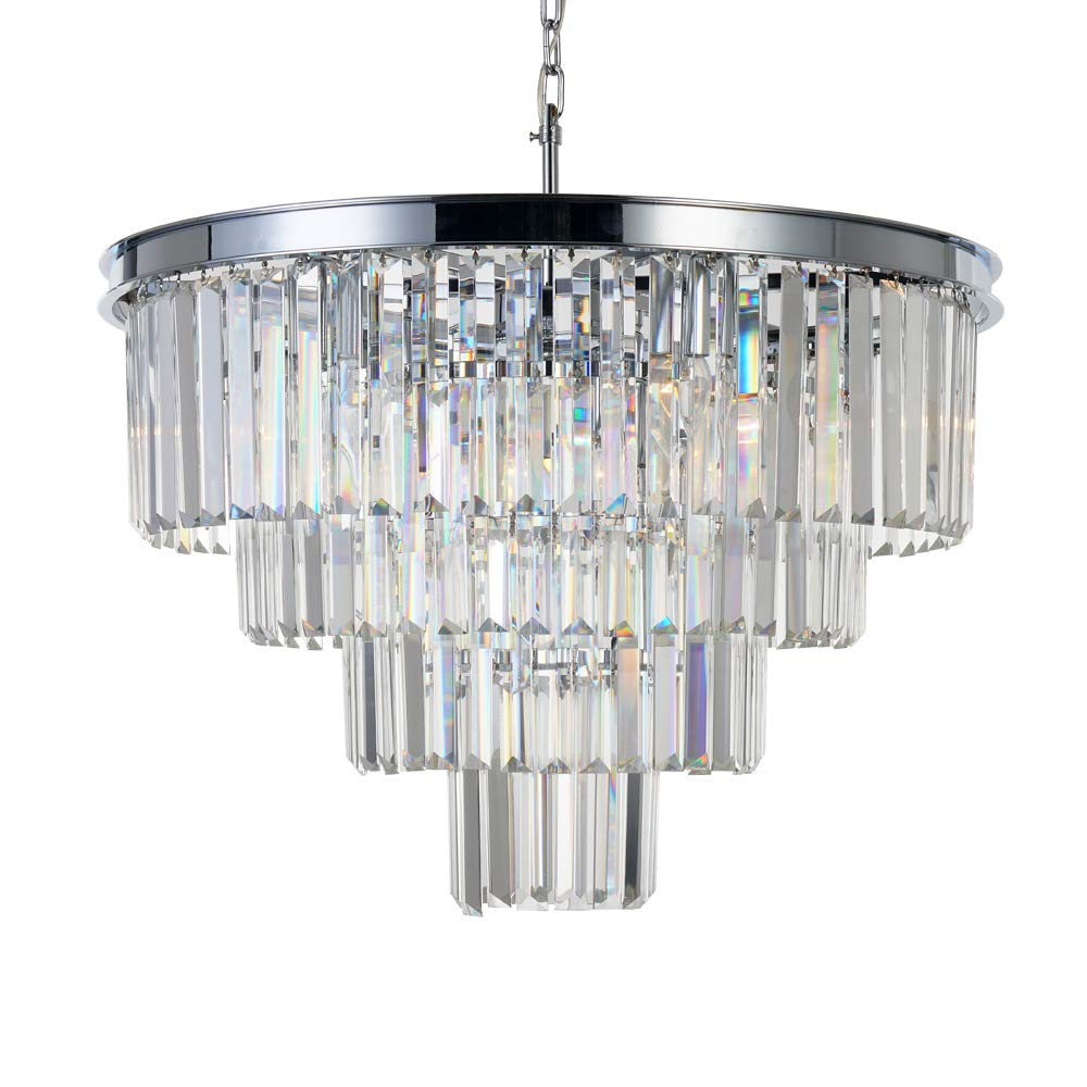 MEELIGHTING Chrome Crystal Modern Contemporary Chandeliers Pendant Ceiling Light 4-Tier Chandelier Lighting for Dining Room Living Room Bedroom Girls Room 9 Lights Dia 23.6''