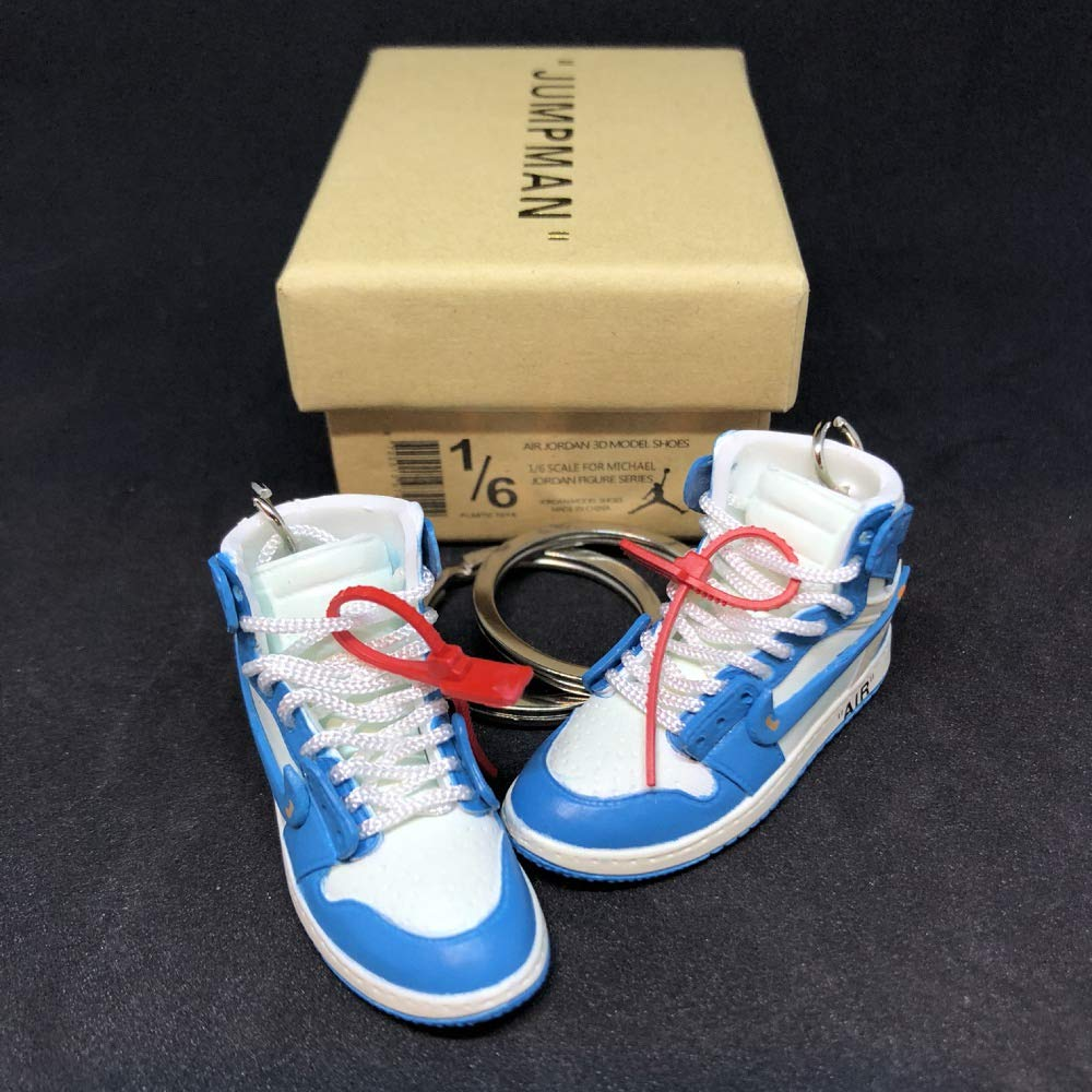 Pair Air Jordan 1 I High Retro Off White UNC Blue OG Sneakers Shoes 3D Keychain Figure with Box