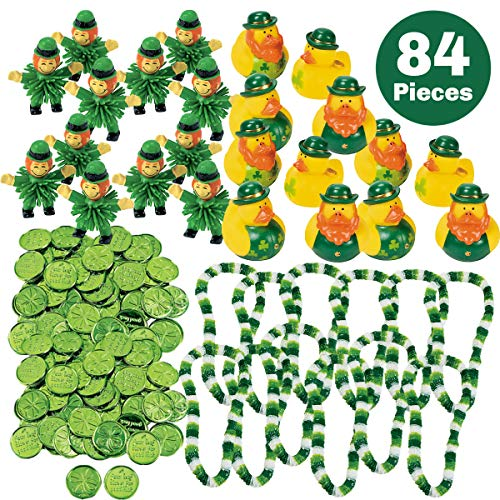 84 Piece St Patrick's Day Party Favors Bulk Accessories Variety Assortment Pack (12 Irish Rubber Ducks - 12 Party Leis - 12 Leprechauns - 48 Good Luck Shamrock Four Leaf Clover Coins) - St Patty Party Supplies