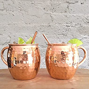 Set of 2 Hammered Copper Moscow Mule Mugs with Copper Straws - Two Artisan Quality Handmade Solid Copper Barrel Cups - 100% Pure 16 oz Unlined Copper Mug Set by Artisan's Anvil