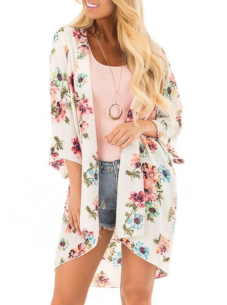 102955540 PINKMILLY Women s Floral Print Kimono Sheer Chiffon Loose Cardigan ...