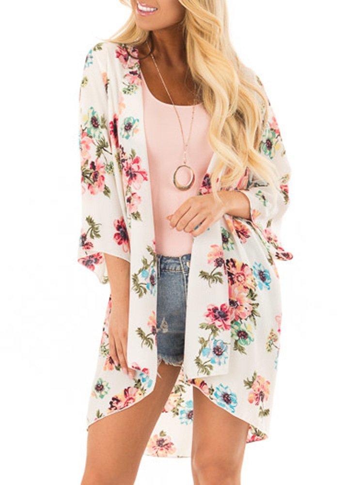 PINKMILLY Women Floral Print Kimono Cover up Sheer Chiffon Blouse Loose Long Cardigan Apricot Small by PINKMILLY (Image #3)