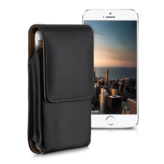 kwmobile Custodia a Marsupio con Clip per Cintura - Astuccio Smartphone 13,5 x 6,9 cm in Pelle PU - Borsa con aggancio per Cinta in Similpelle - Nero