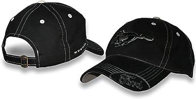 Ford Mustang Gorra negra con bordado plateado: Amazon.es: Ropa ...