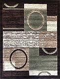 Americana Modern Area Rug Contemporary Brown & Green Geometric Design 1497 (5 Feet 2 Inch X 7 Feet 3 Inch)
