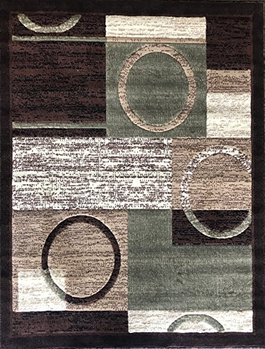 (Americana Modern Area Rug Contemporary Brown & Green Geometric Design 1497 (5 Feet 2 Inch X 7 Feet 3 Inch))