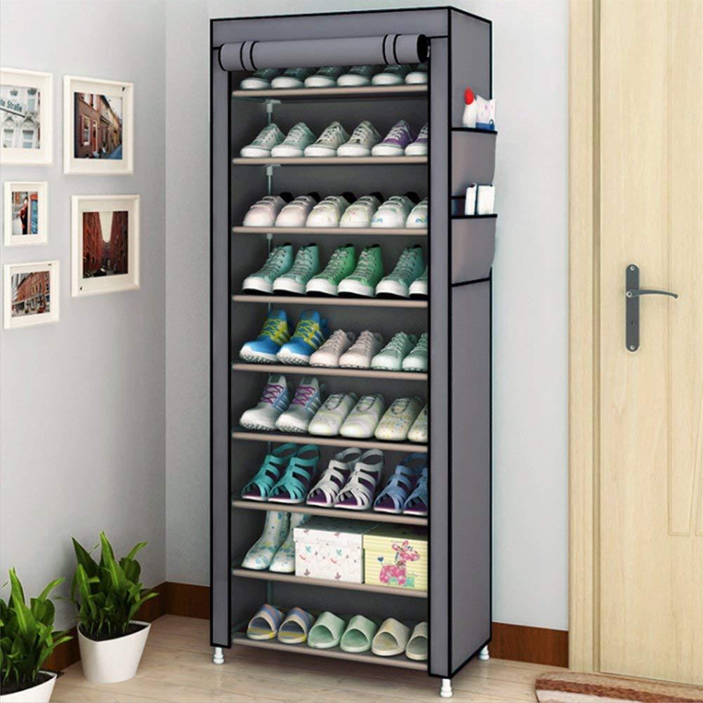 Marron 89 x 25 x 140 cm Pliant /Étag/ère /à Chaussures en Tissu et M/étal Dortoir Meuble /à Chaussures pour D/écor Maison Grande Capacit/é Porte-chaussures /à 10 Niveaux pour 27 Pairs de Chaussures