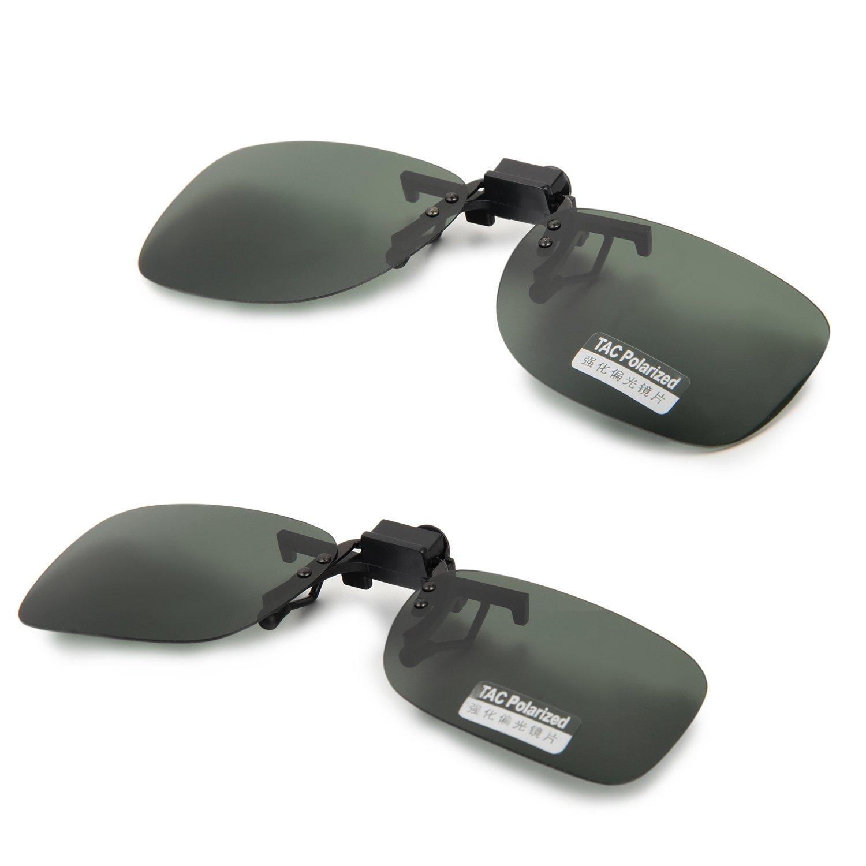 Aroncent UV400 Sonnenbrillen Vorhänger Brille Aufsatz Clip On Polarisiert, 2 Größe, Braun Gelb Grün ARC190