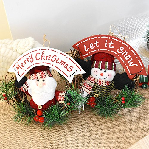 ACDOS 20cm Christmas Wreath for Front Door Hang Garland with Santa Claus Snowman Ornaments Natural Rattan
