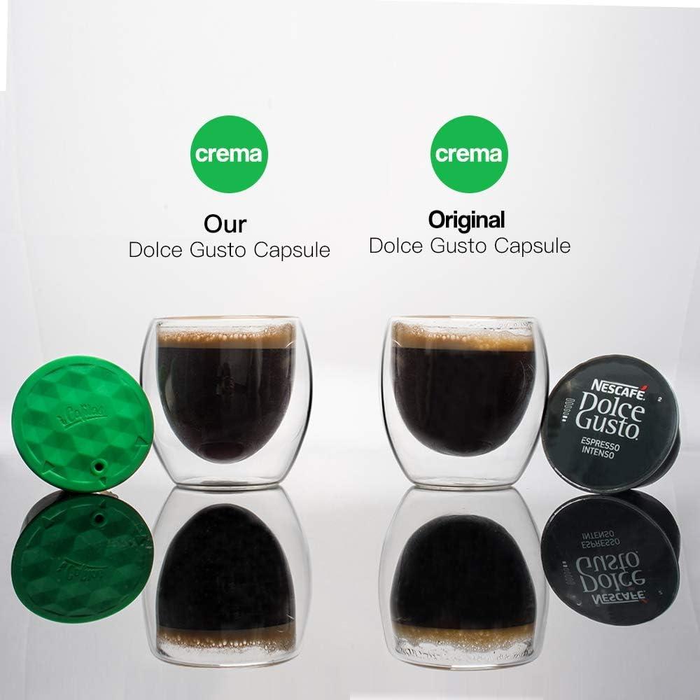 Volwco Filtros C/ápsulas de Caf/é para Dolce Gusto 1 Cuchara C/ápsulas de Caf/é Reutilizables de Acero Inoxidable con 1 Pincel 1 Pis/ón de Caf/é -Versi/ón de Actualizaci/ón