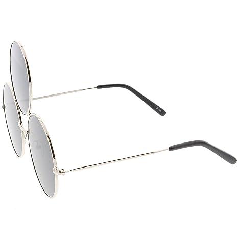 96f060e91ab23 Amazon.com  sunglassLA - Oversize Circle Third Eye Sunglasses For Men Women Slim  Arms 56mm (Silver Smoke)  Clothing