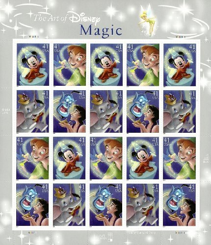 The Art of Disney: Magic, Full Sheet of 20 x 41-Cent Postage Stamps, USA 2007, Scott 4192-95
