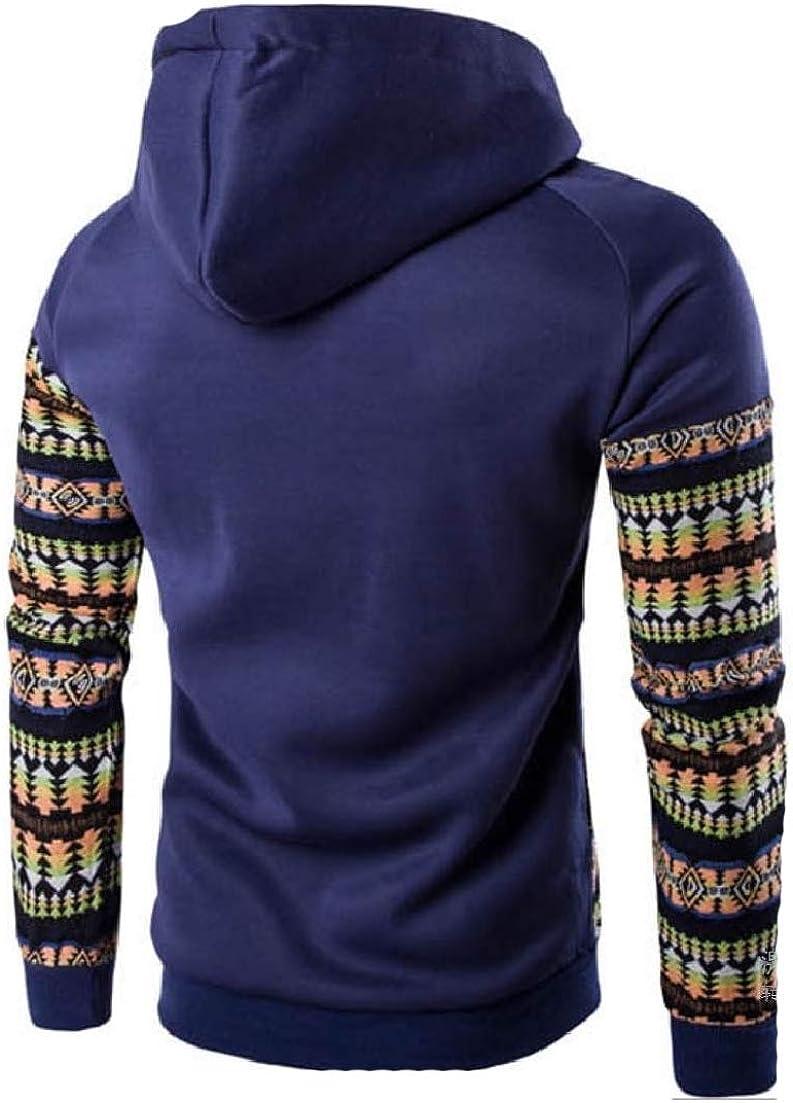 AngelSpace Mens Pocket Hoodie Raglan Tribal Fashion Splice Tracksuit
