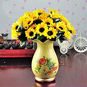 JJH 1 Branch Polyester Sunflowers Tabletop Flower Artificial Flowers 19