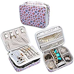 Teamoy Travel Jewelry Organizer Case, Storage Bag Holder for Necklace, Earrings, Rings, Watch and More, High Capacity and Compact,Purple Flowers