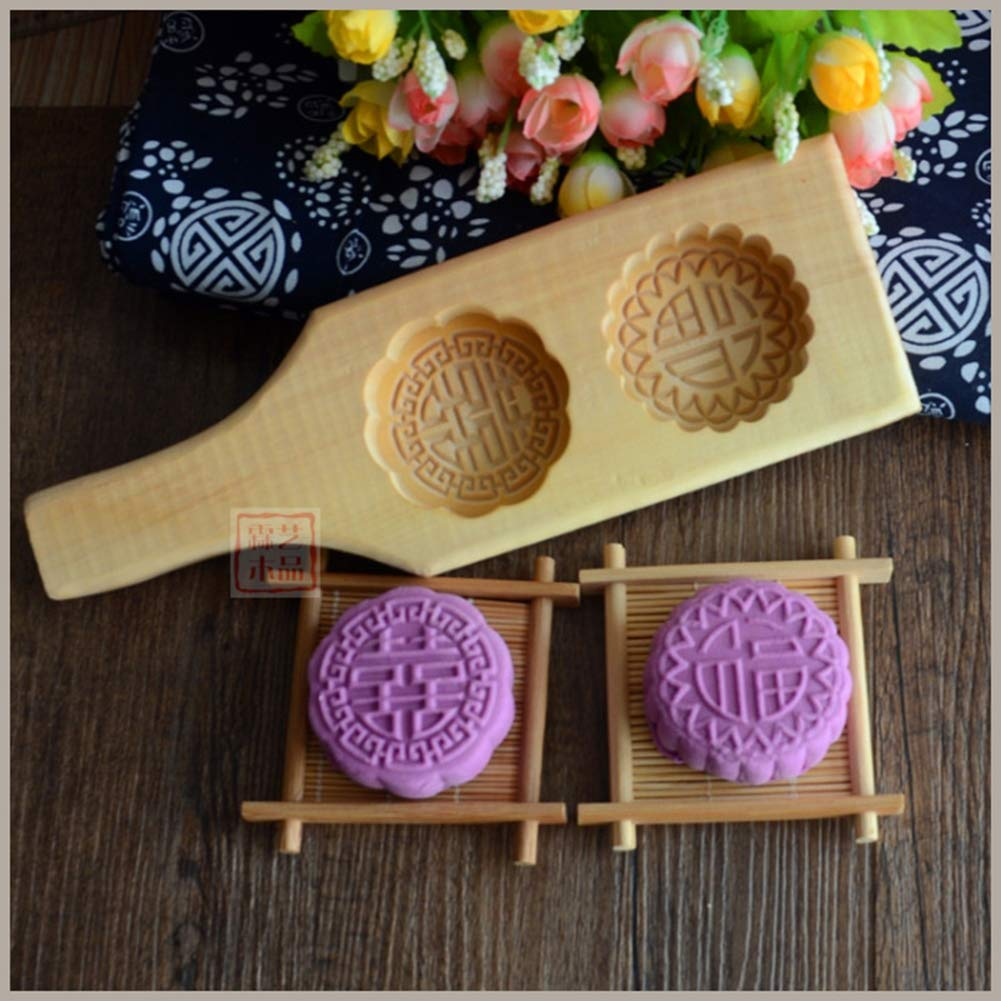 GEF Moon Cake Mold, Pear Woodmoon Cake Decor Pastry Biscuit Mold Mould Flower DIY Wood Baking Tools by GEF (Image #3)