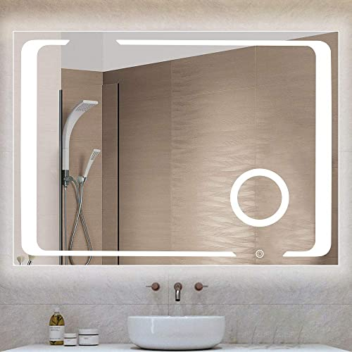 Qimh 32×24 Inch Wall Mounted LED Lighted Bathroom Vanity Mirror with Touch Button and Plug, Built-in 3X Magnified 5.5 Inch Mirror, Horizontal and Vertical Hanging, Dimmable Lighting, Stepless Dimming