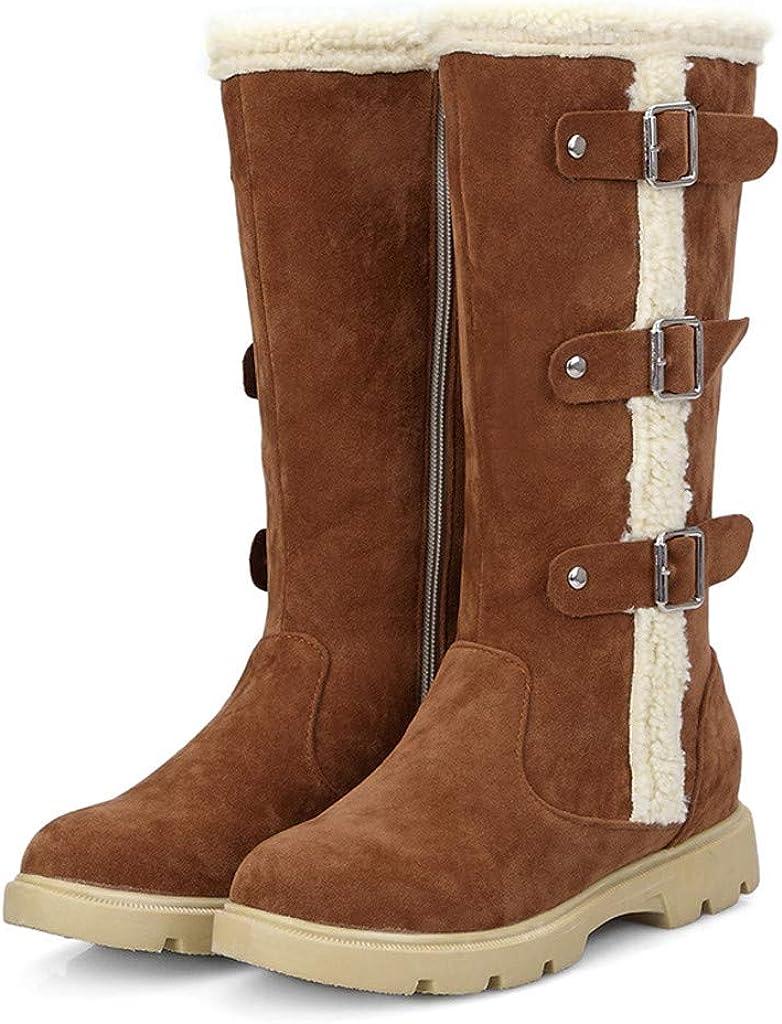 ♫Loosebee♫ Women Winter Snow Boots Side Zipper Fashion Belt Buckle Long-Tube Lady Warm Flat Boot