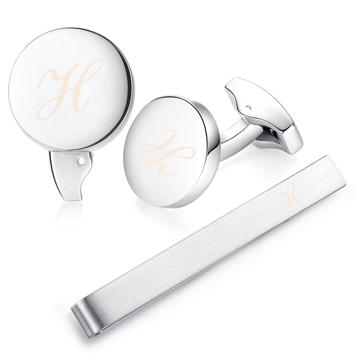Honey Bear Initial Alphabet Letter Cufflinks and Tie Clip Set for Mens - Round Stainless Steel Business Wedding Gift Silver