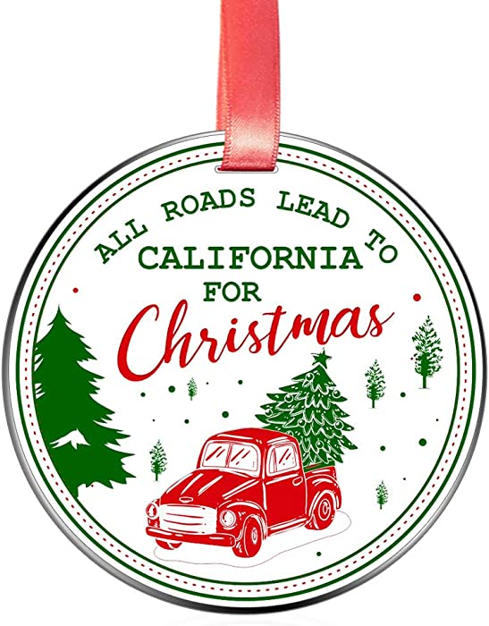 Elegant Chef All Roads Lead to California for Christmas- Christmas Ornament Gift for Family Friends- Tree Hanging CA Love Festival Decoration for Xmas Holidays Celebration- 3 inch Flat Stainless Steel
