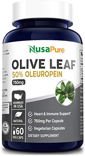 Olive Leaf Extract 750 mg 50 Oleuropein Non-GMO Gluten Free – Vegetarian – Super Strength – Immune Support, Cardiovascular Health Antioxidant Supplement – No Oil – 60 Capsules