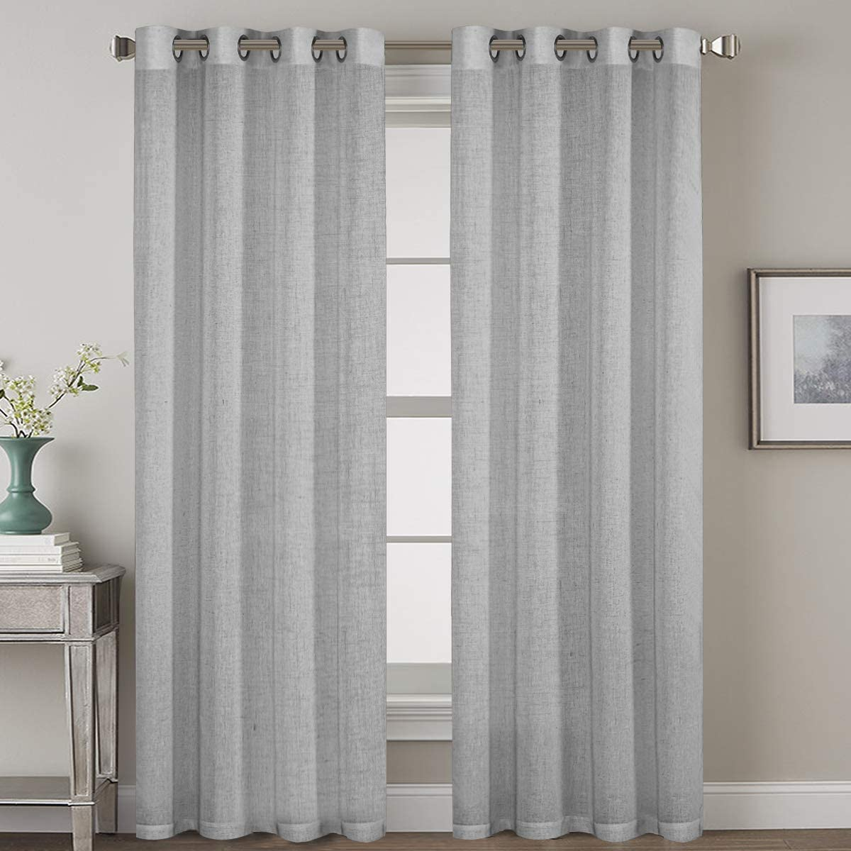 Nickel Grommet Natural Linen Blended Airy Curtains for Living Room Home Decor Soft Rich Material Light Reducing Bedroom Drape Panels, Set of 2, 52 x 84 -Inch - Dove Pattern
