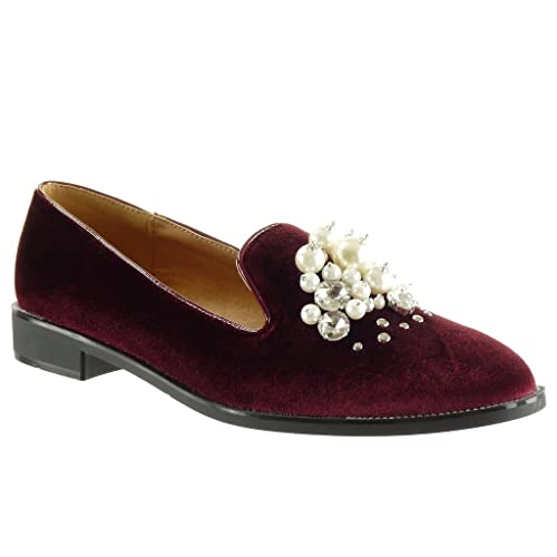 Angkorly - Zapatillas de Moda Mocasines Slip-on Mujer Joyas Perla Strass Talón Tacón Ancho 2.5 CM - Burdeos WH846 T 41: Amazon.es: Zapatos y complementos