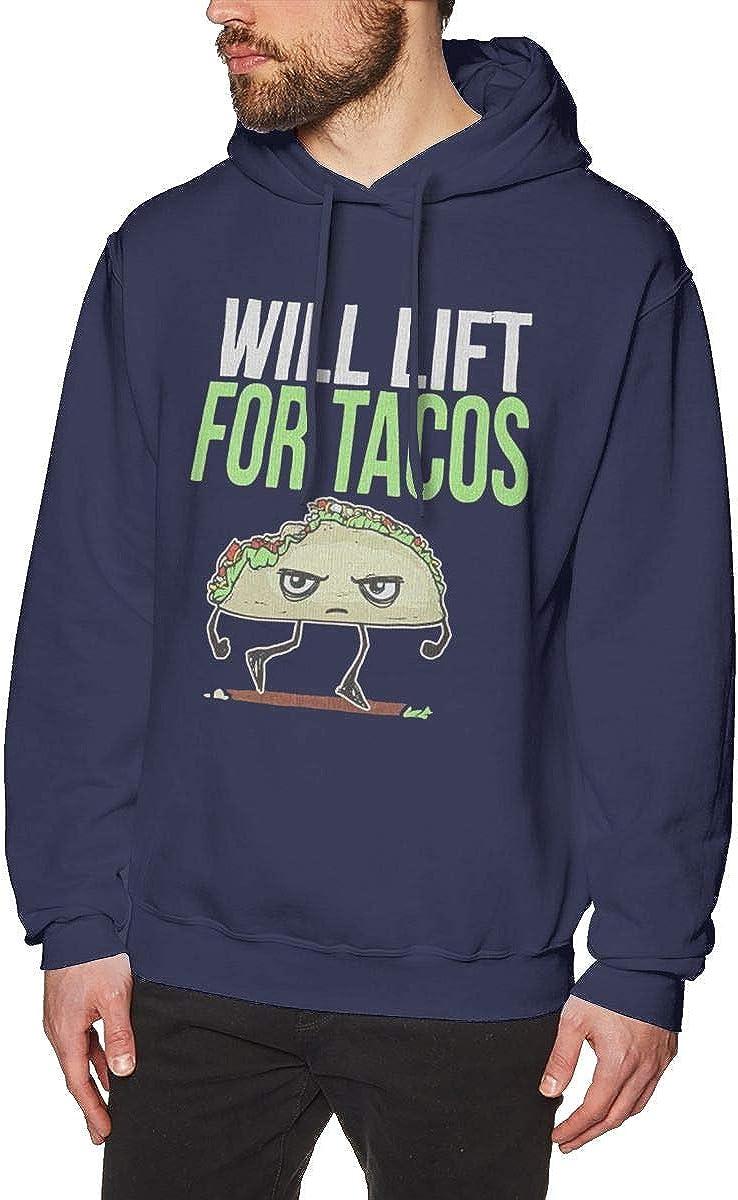 Mens Hooded Sweatshirt Will Lift for Tacos Original Retro Literary Design Navy