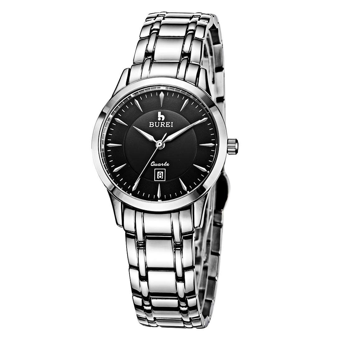 SchÖne Uhren - BUREI 700101 Multifunktionale 3ATM wasserdichte Quarz-Geliebt-Armbanduhr mit Edelstahl-Band u. Saphir-